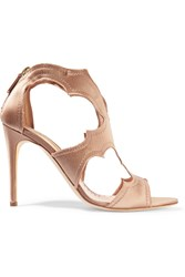 Rupert Sanderson Estelle Cutout Satin Sandals Brown