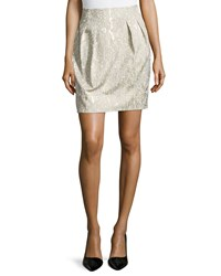 Lafayette 148 New York Jackie Pleated Short Skirt Raffia