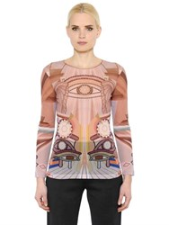 Givenchy Eye Printed Sheer Stretch Tulle Top
