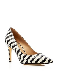Via Spiga Carola Snake Embossed Pointed Toe Pumps Black White