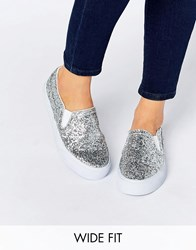 Asos Dulcie Wide Fit Trainers Glitter Silver