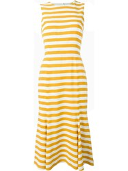 Dolce And Gabbana Striped Midi Dress Yellow And Orange
