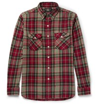 Rrl Checked Brushed Cotton Flannel Shirt Red