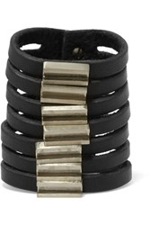 Rick Owens Leather And Silver Tone Cuff Black