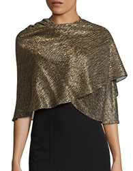 Tahari Metallic Accented Chiffon Shawl Gold Black