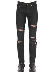 Saint Laurent 15Cm Super Destroyed Stretch Denim Jeans