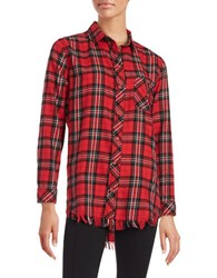 Beach Lunch Lounge Fringed Plaid Flannel Shirt Red