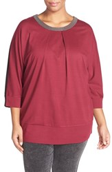 Plus Size Women's Melissa Mccarthy Seven7 Embellished Colorblock Ponte Top Wine Front W Black Back
