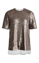 Prabal Gurung Metallic Sequined Oversized Tee Gold