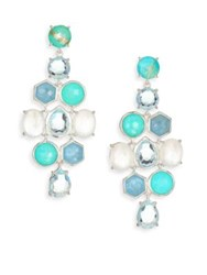 Ippolita Rock Candy Milky Aquamarine Larimar Aquamarine Mother Of Pearl And Sterling Silver Chandelier E Blue Multi