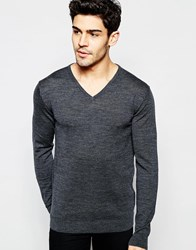 Selected Knitted V Neck Neck Sweater In Merino Wool Mid Gray Melange