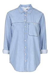 Topshop Moto Oversized Denim Shirt Bleach
