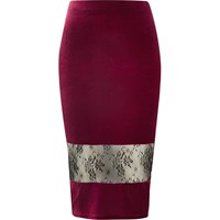 River Island Womens Burgundy Velvet Lace Panel Pencil Skirt Red