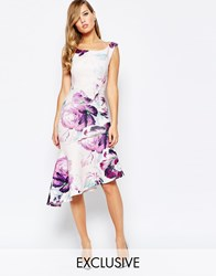 True Violet Off Shoulder Pencil Dress With Asymmetric Ruffle Hem Purple Floral Print