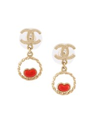 Chanel Vintage Heart Charm Drop Earrings Metallic