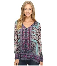 Lucky Brand Moroccan Border Blouse Navy Multi Women's Blouse Blue
