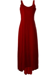 Helmut Lang Vintage Velvet Long Dress Red