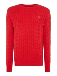 Gant Crew Neck Cable Knit Jumper True Red