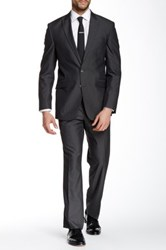 Kenneth Cole Reaction Charcoal Stripe Two Button Peak Lapel Suit Gray
