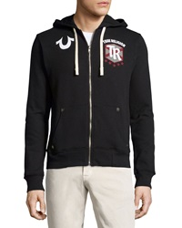 True Religion Hooded Logo Trim Zip Front Sweatshirt Black