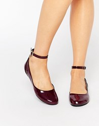 London Rebel Ankle Strap Ballet Flats Burgundy Patent Red
