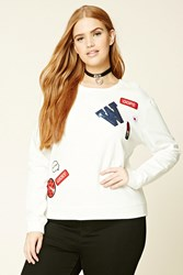 Forever 21 Plus Size Patch Sweatshirt White Black