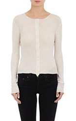 Helmut Lang Women's Raw Edge Ribbed Cashmere Cardigan Ivory