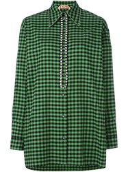 N 21 No21 Checked Embellished Blouse Green