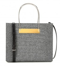 Balenciaga Cable Shopper Small Embossed Wool And Leather Tote Grey