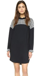 3.1 Phillip Lim Fringe Houndstooth Dress Black White