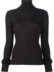 Marios 'Shimmery' Ribbed Turtleneck Pullover Black