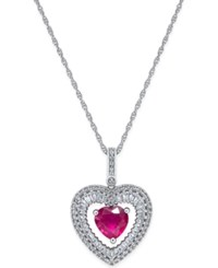 Macy's Ruby 4 5 Ct. T.W. And White Topaz 1 8 Ct. T.W. Heart Pendant Necklace In Sterling Silver