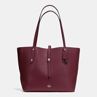 Coach Market Tote In Pebble Leather Silver Burgundy Cerise