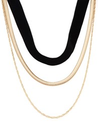 Design Lab Lord And Taylor Double Row Nested Velvet Chainlink Necklace Black