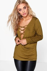 Boohoo Gabriella Lace Up Detail Wrap Top Olive