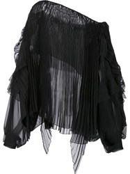 Alexandre Vauthier Longsleeved Pleated Blouse Black
