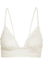 Vix Swimwear Helen Snake Effect Triangle Bikini Top Off White