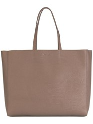 Orciani Logo Plaque Tote Brown