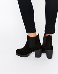 London Rebel Chunky Heeled Chelsea Boots Black Mf