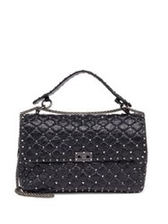 Valentino Rockstud Large Quilted Leather And Chain Top Handle Bag Black