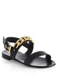 Giuseppe Zanotti Chain Banded Leather Sandals Black Gold