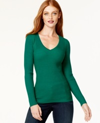 Inc International Concepts Ribbed V Neck Sweater Only At Macy's Emerald Shadow