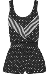 Stella Mccartney Printed Cotton And Silk Blend Playsuit Black