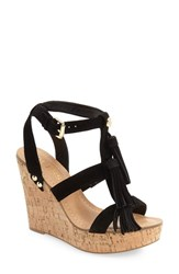 Women's Guess 'Heya' Tassel Cork Wedge Sandal 4 1 2' Heel