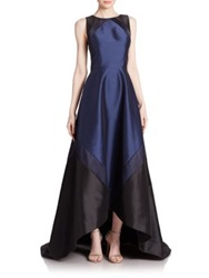 Theia Colorblock Hi Lo Gown Midnight Blue