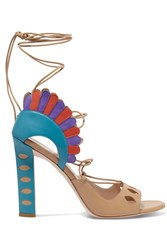 Paula Cademartori Lotus Suede Trimmed Lace Up Leather Sandals Blue