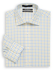 Saks Fifth Avenue Classic Fit Check Cotton Dress Shirt Yellow Blue