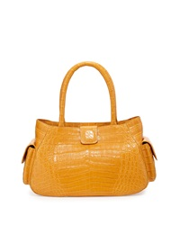 Nancy Gonzalez Small Crocodile Satchel Bag Gold