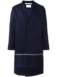 White Mountaineering Single Breasted Coat Blue