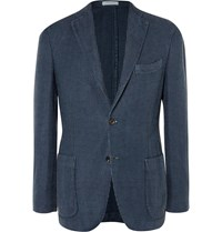 Boglioli Navy Houndstooth Linen And Cotton Blend Blazer Blue